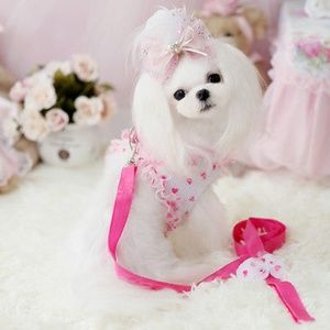 "18"" Pink Princess Pet Harness with Leash"